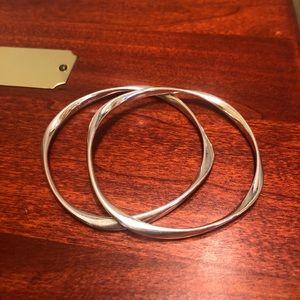 2 Pandora Liquid Silver Wave Bangle Bracelets Set